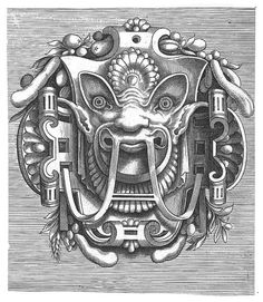 A mask tells us more than a face but does it float #illustration #mask #vintage #etching #aztec #face