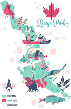 Maps Owen Davey Illustration #pink #rouge #map #park #illustration #teal