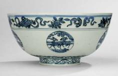 Large bowl with underglaze blue animal decor in round cartridges #Sets #Tea sets #Porcelain sets #Antique plates #Plates #Wall plates #Figures #Porcelain figurines #porcelain