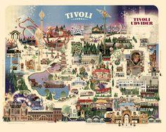 Copenhagen Tivoli Christmas park map on Behance #copenhagen #illustration #map
