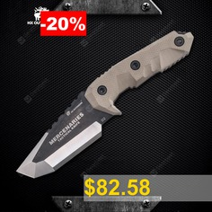 HX #OUTDOORS #D-165 #D2 #Blade #Tactical #Fixed #Knife #Camping #Hunting #with #Multi-function #Gear #Mercenaries
