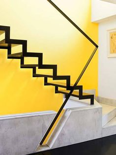minimalist staircase #steel #staircase #yellow #steps #black #marble #minimalist