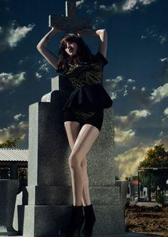 A God's Weeping #clouds #sky #cross #graveyard #gold #fashion #blue #dress