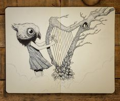 Sounds of the Forest - Moleskine sketch by Jorge Tirado :: milomonster.com #forest #harp #illustration #moleskine #music #surreal #drawing #sketch