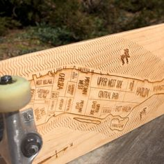 Manhattan skate deck #map #typography #wood #lettering #skateboard #rad #neighborhood #laser engraved #neighborwoods