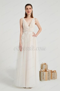 eDressit Beige Plung V-Cut Lace LongTulle Party Prom Gown (01200314)