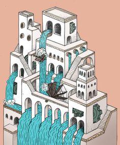 cascadia  #ADOBE #ARCHITECTURE #ART #CASTLE #CITY #ILLUSTRATION #ISOMETRIC #PHOTOSHOP #WATERFALL