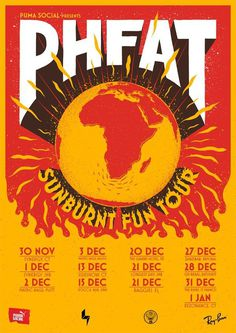 Gig Poster, fire, PHFAT, Sunburnt Fun Tour #illustration #poster #sun #fire