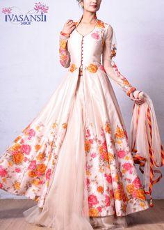 Vasansi Beige Raw Silk Indo Western