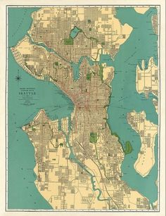 Antique Seattle city map Print 43 x 33 Large by AncientShades #map