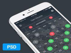 Calendar App UI PSD #flat #app #design #ui