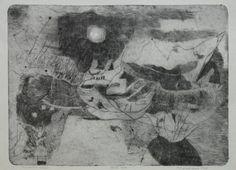 Karel Valter (Czech, 17. února 1909, České Budějovice – 17. listopadu 2006, Tábor) Máchovská krajina 1976 #shade #abstract #drawing
