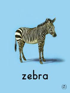 zebra Art Print by Ladybird Books Easyart.com #print #design #retro #artprints #vintage #art #bookcover