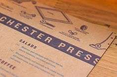 Manchester Press #menu #design #branding