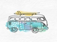 Dribbble - California Cool Illustration by Ashley Jankowski #watercolors #van #illustration #vw