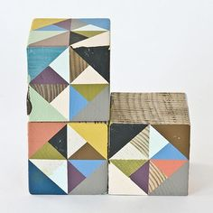 Helen Anna - Journal #wood #paint #muted #triangles