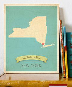 Blue US State Map Customizable Print #maps