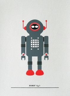 Made By Morris #printed #silkscreen #red #robot #silver #hand #grey