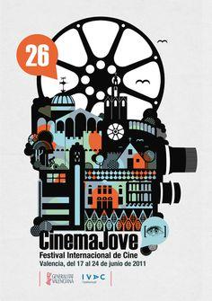 26th Festival Internacional de Cine. Cinema Jove #camera #city #wheel #illustration #poster #film