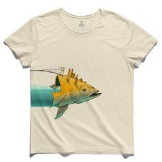 #the big fish #beige #tee #tshirt #fish #istanbul #bosphorus #bridge #kaanbagci #water #drawing