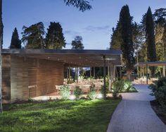 Outdoor Pool Hidden in Forest Park - #outdoor,   #architecture,  #restaurant, restaurant