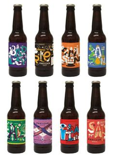Etiquetas ilustradas para la cerveza artesanal Partizan Brewing #beer #illustration #label