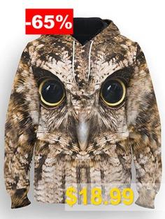 Hip-hop #European #and #American #Large #Size #Men's #Long-sleeved #Print #Hoodie #3D #Owl #Pattern #Couple #Loose #Sweatshirt #- #MULTI-A