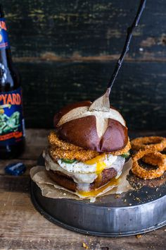 Sweet Potato Black Bean Chili Burgers w/Baked Cheddar Beer Onion Rings. #burger