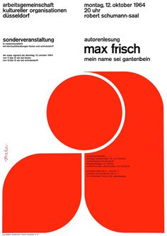 Breker (Walter, DE) 1964 Autorenlesung Max Frisch Arbeitsgemeinschaft kultureller Organisationen Düsseldorf Plakat A1 | Flickr - Photo Sha #poster