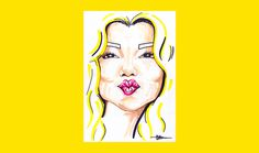 Ellen for 'Birthday Special' series by Chiamaka Ojechi #illustration #yellow #lips #pink #markers #promarkers #minimal