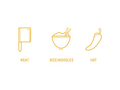 Icons #vector #branding #noodles #yellow #icons #food #meat #chile