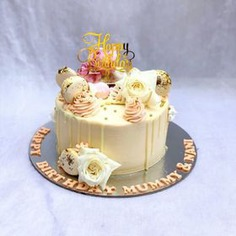 Drip Vanilla Cake, with Roses and Happy Birthday Topper