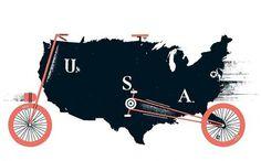 Pedal pushing - USA [Monocle] #illustration #bicycle