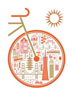 Around San Francisco by Brent Couchman #orange #san #illustration #bike #poster #francisco
