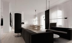 Kevin H. Chung #interior #sofa #white #home #black #kitchen