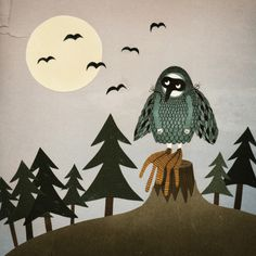 Michelle Carlslund Illustration: FLY. #illustration #poster #bird #owl #copenhagen #trees #moon #woods #danish #imagination #wings #fly #cos