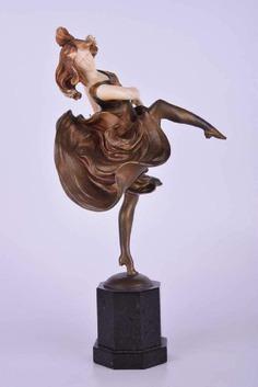 "Kimelen Lady ""Dancer""Sculpture Art Deco, Bronze and Marble"