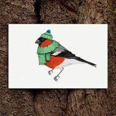 Mister Bullfinch, by Cecilia Hedin #holidays #woodland #beanie #card #bird #christmas #scarf #holiday #bullfinch