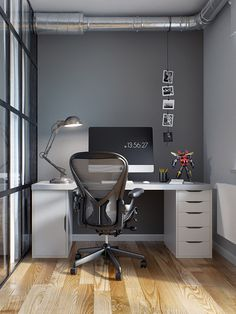 Work space, black, iMac