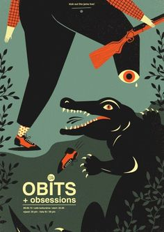 GigPosters.com - Obits - Obsessions #crocodile #eye #illustration #poster #predator