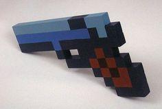 Pixel Pistol Acrylic on Wooden Sculpture by pressstarttobegin #blue #gun #pixel #8bit