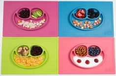 Because kids will be kids. Make mealtimes less messy with this colourful and friendly-faced place mat plate. #dining #design #home #product #industrial #kids #table
