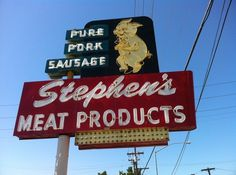 old Stephen's Meat Products sign in San Jose, CA #pork #sign #typography #lights #vintage #neon
