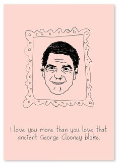 Nadia Salam Design : Photo #valentines #frame #famous #george #pink #illustration #valentine #funny #love #clooney
