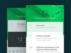 Kickstarte Material Design list view app mobile