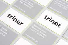 filip triner design branding business cards painted edges www.triner.de edge neon yellow embossing emboss print thick business card black gr