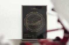 Silkscreen Print: Map II – The Southern Sky (Gold / Black) — stellavie | design manufaktur #poster
