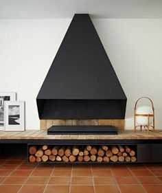 Standing Elements #wood #black #matte #fireplace