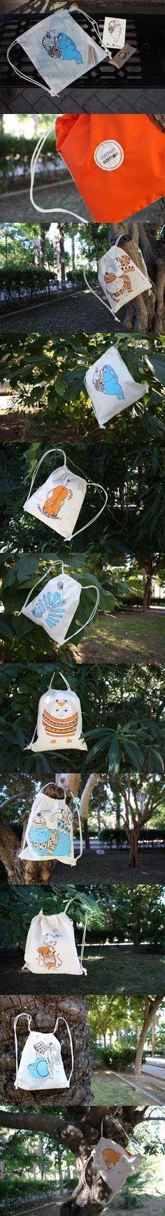 Bags for children #silkscreen #illustration #handmade #sew #bag #children