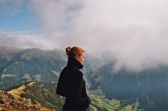 Mountaintop Portrait #vintage #film #portrait #woman #clouds #mountains